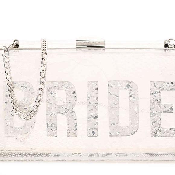 8e23176983a0 Aldo Handbags - Acrylic bride clutch with silver glitter